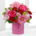 3 розы, 4 герберы,4 хризантемы куст.,зелень